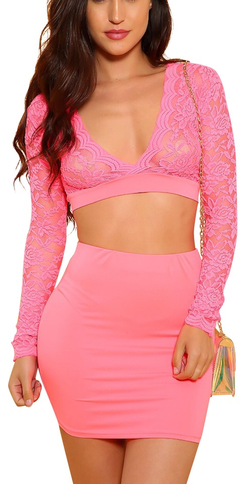 Neon Pink Sexy Floral Lace Sheer Two Piece Party Short Night Out Dress Size 8 M 34 Off Retail