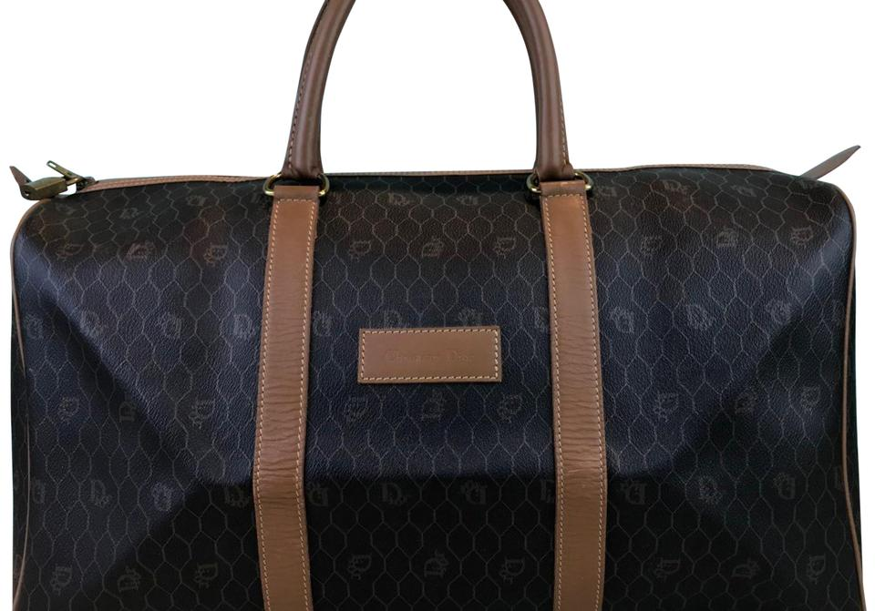 Dior Christian Monogram Duffle Brown Coated Canvas Weekend Travel ... a83a8b6573a87