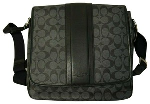 Coach F71102 F1102 Heritage Map Stripe Black Charcoal Grey Messenger Bag
