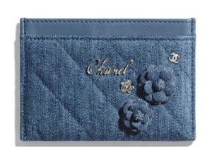 Chanel Denim Camellia Flowers Quilted Card Holder