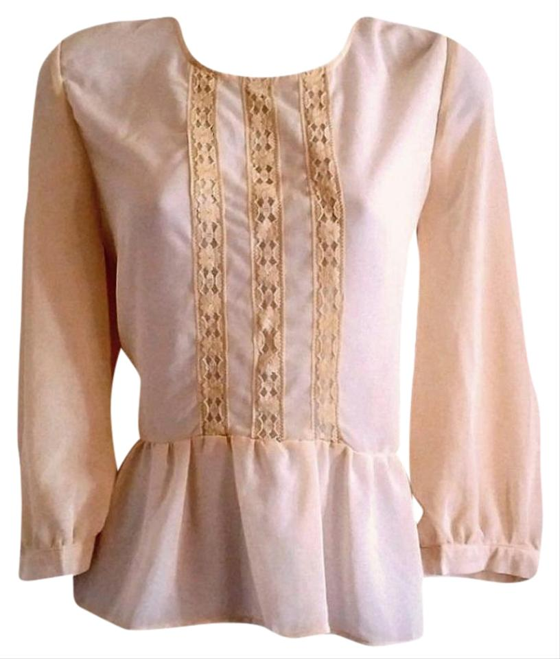 8518131fc752eb Monteau Los Angeles Ivory Sheer Peplum Ruffled Boho Frilly Lace Lacy  Crochet Blouse
