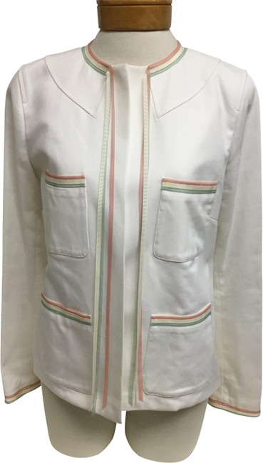 Item - White Denim with Pastel Ribbons Jacket Size 8 (M)