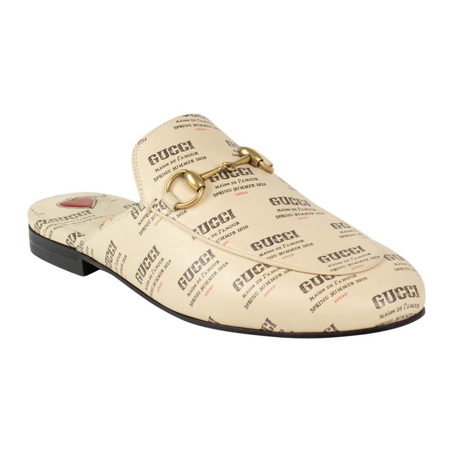 8fd4fc60e31 Gucci Ivory Leather Logo Stamp Print Princetown Mules Slides Size EU ...