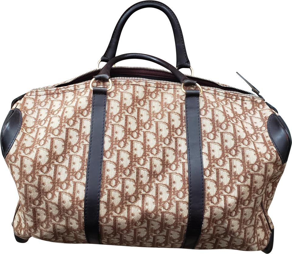 44f5e47822b406 Dior Trotter Large Boston Diorissimo Brown Canvas Weekend/Travel Bag ...
