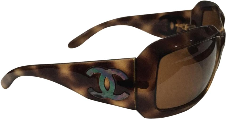 a52fd2216e Chanel Brown Tortoiseshell Cc Mother Of Pearl Sunglasses - Tradesy