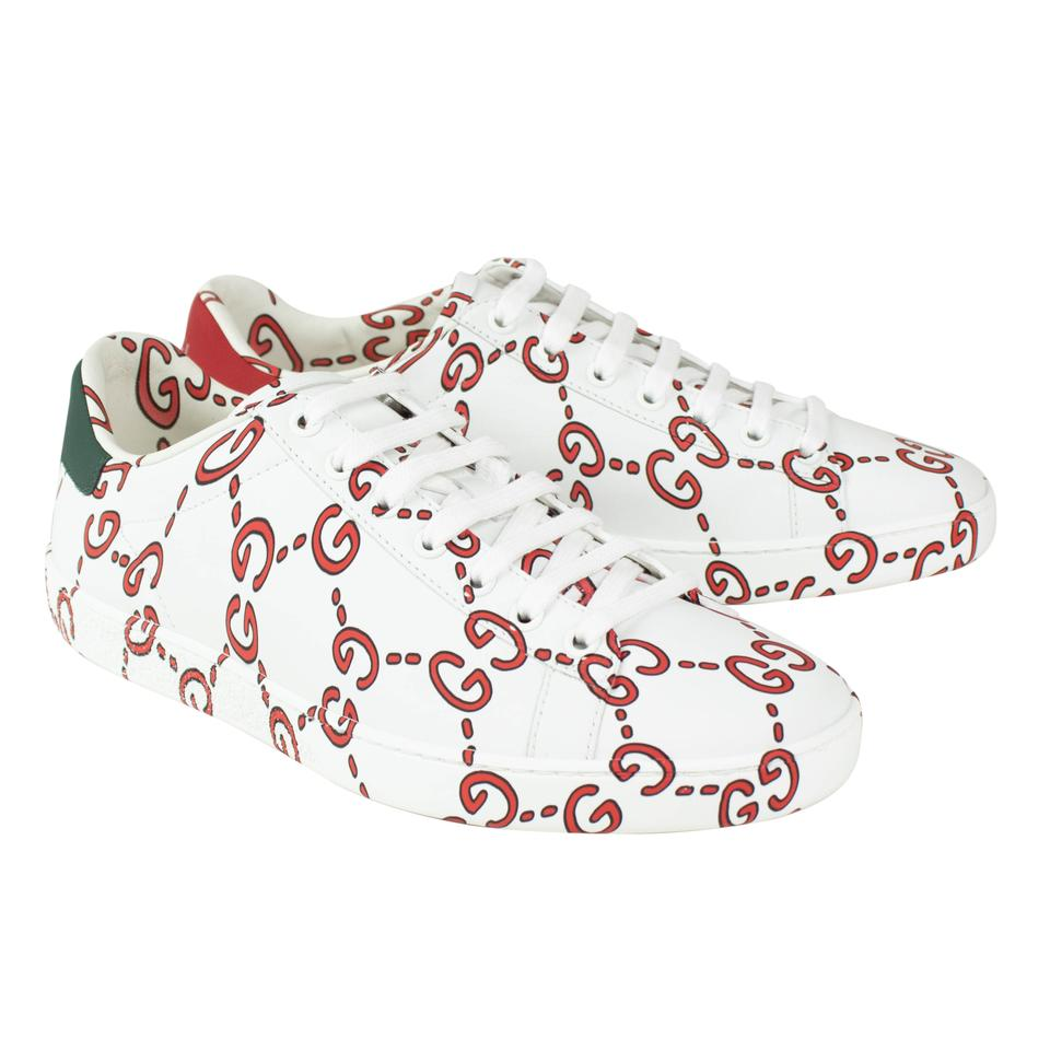2eabf65b8c9 Gucci White Red Leather Ace Gg Print Lace Up Sneakers Sneakers Size EU 39.5  (Approx. US 9.5) Regular (M
