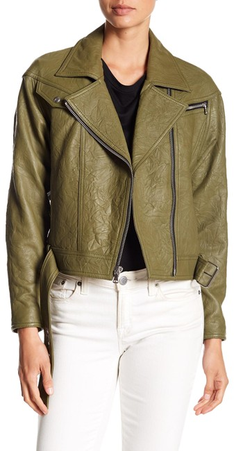 Item - Olive Green Sivan Textured Leather Moto In Peatmoss Jacket Size 0 (XS)