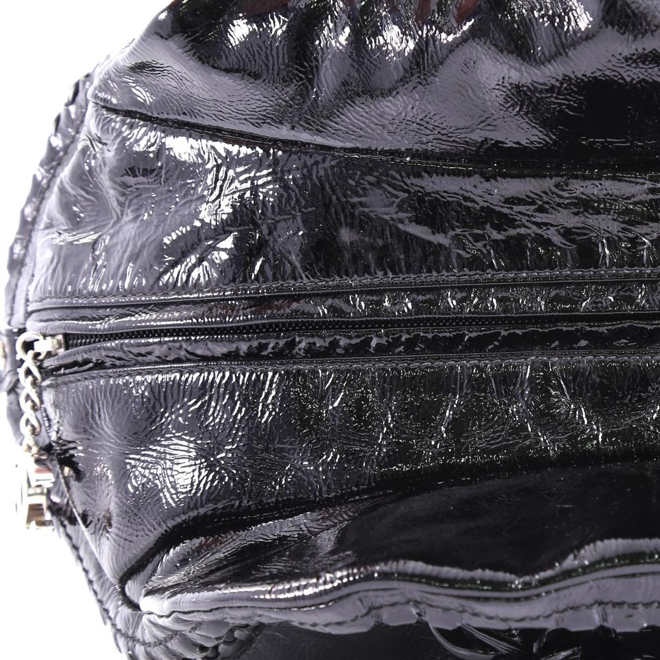 f7a160f9ad96 Chanel Resin Luxe Ligne Bowler Medium Black Patent Leather Satchel ...