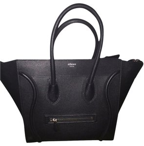Céline Pebbled Leather Luggage Tote in Black