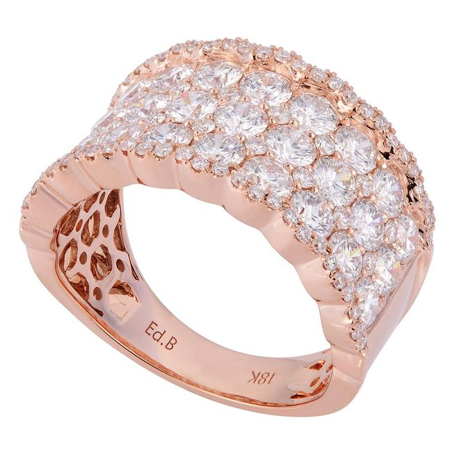 Item - Rose Gold Pave Diamond Cluster Multi Row Ladies Ring 3.00cts Women's Wedding Band