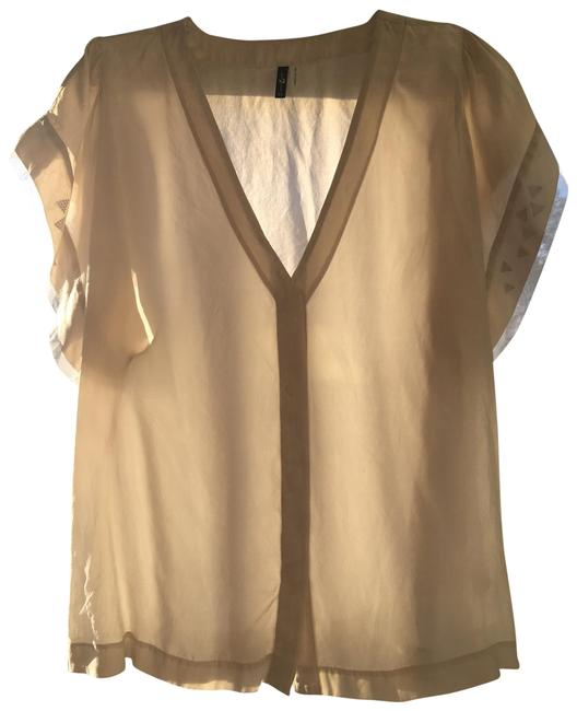Item - Oyster Silk with Flounced Sleeves Blouse Size 2 (XS)