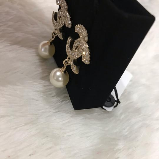 Chanel Chanel CC classic crystal pearl dangle earrings