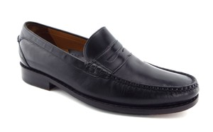 Cole Haan Black Leather Nike Air Leather Penny Loafers Slip-on Shoes