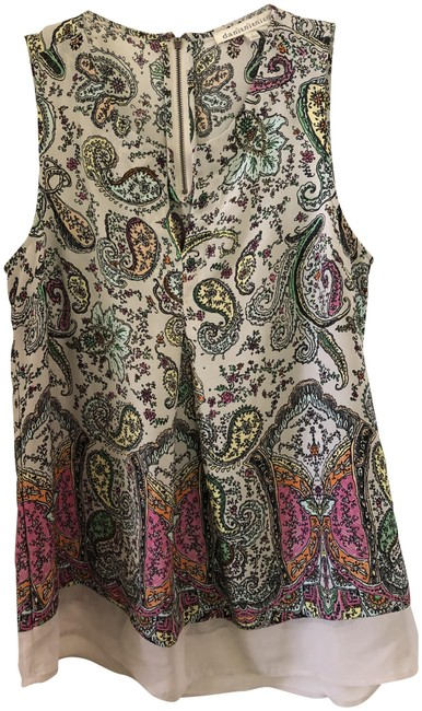 Item - Multicolor Sleeveless Paisley Print Zip Back Blouse Size 4 (S)