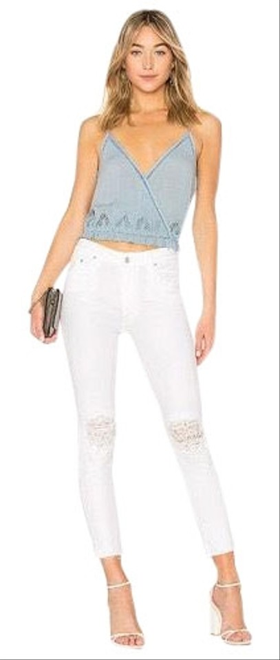2b6a085ade56 Mother White The Looker High Waisted Lace Frayed Ankle Skinny Jeans ...