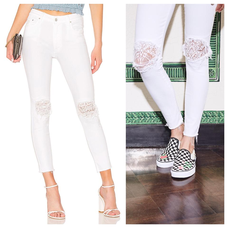 ae2466e191d1 Mother White The Looker High Waisted Lace Frayed Ankle In Little ...