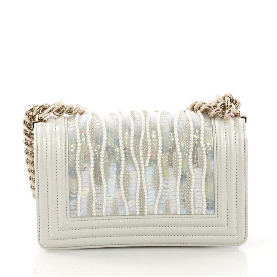 20dc6c320d Chanel Classic Flap Boy Sequin and Pearl Embellished Small White Leather  Shoulder Bag - Tradesy