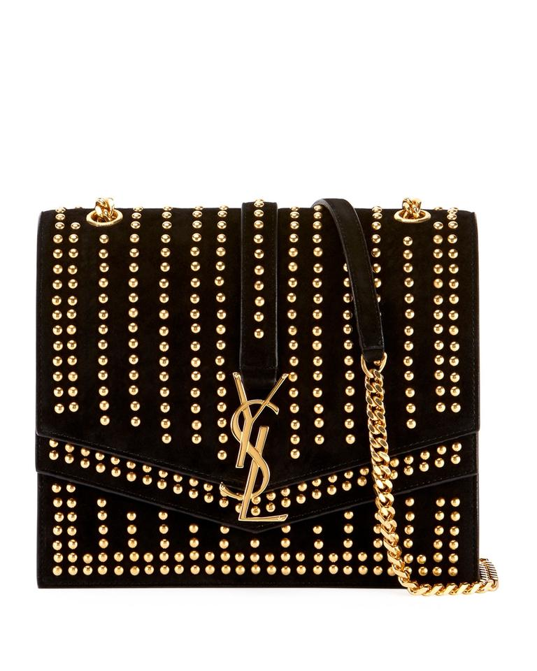 75e09a97ccbd Saint Laurent Sulpice Monogram Ysl Triple-flap Black Suede Leather Cross  Body Bag