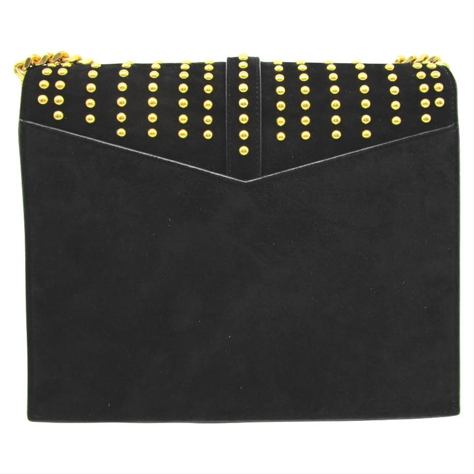 ee4c8e5ed3706 Saint Laurent Sulpice Monogram Ysl Triple-flap Black Suede Leather Cross  Body Bag - Tradesy