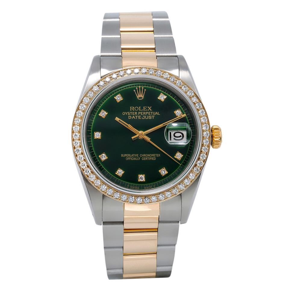 f5664cfd3a5 Rolex Two Tone Rolex 1601 Datejust 36mm Green Dial With 1.20CT Diamond  Bezel Image 0 ...