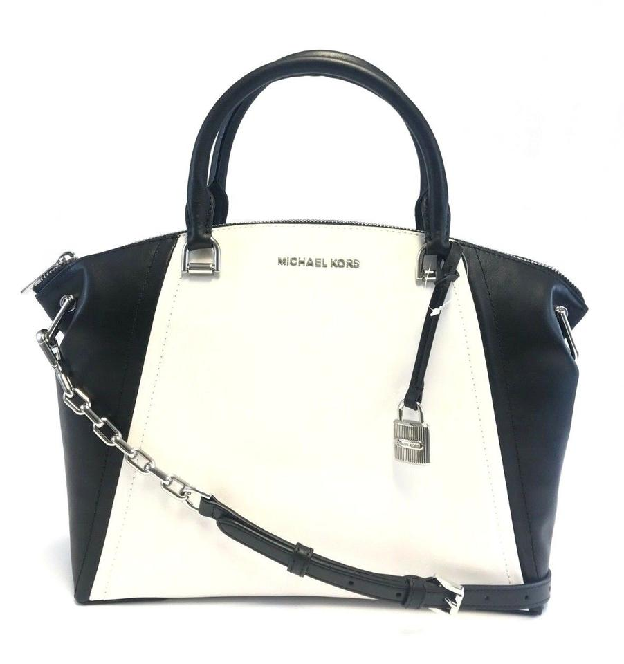 9c0247c56d95 Michael Kors Women's Sadie Large Top Zip Satchel Black/White Leather ...