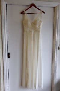 BHLDN Ivory Tulle with Lace Fleur Feminine Wedding Dress Size 0 (XS)