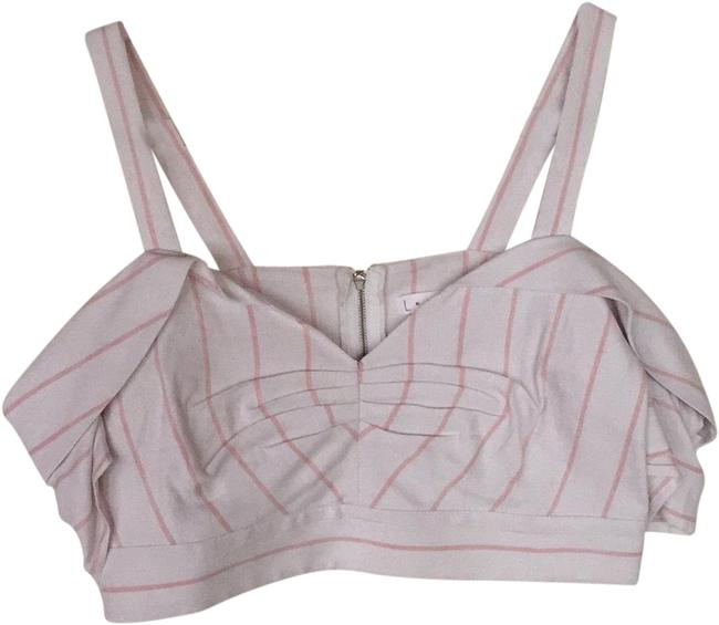 Item - White and Pink Striped Off The Shoulder Crop Tank Top/Cami Size 8 (M)