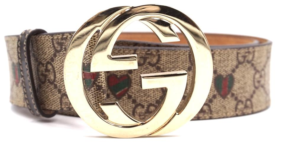 446c1be3b08 Gucci  27718 Beige Guccissima with Green Red Stripe Hearts Gg Logo ...
