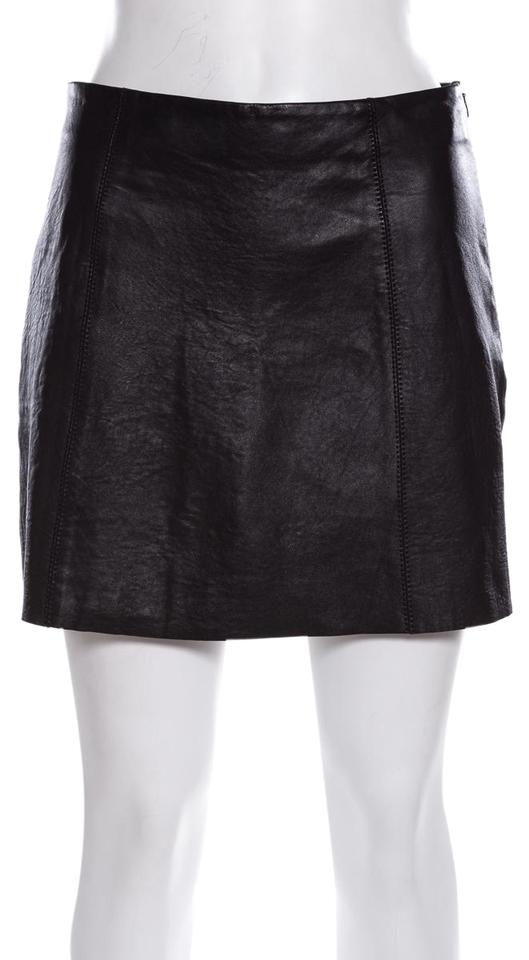 ca3927a37e77e T by Alexander Wang Black Leather Skirt Size 6 (S