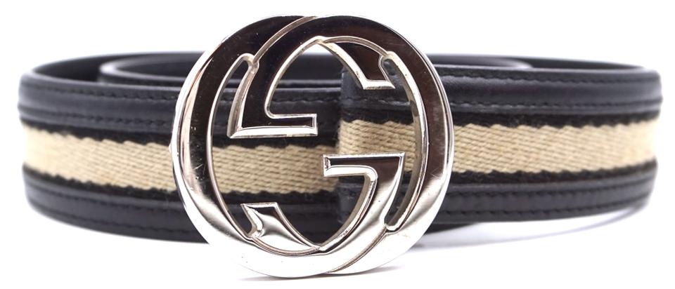 67dc43ad1 Gucci #27719 Black and White Stripe Canvas On Black Leather Gg Logo ...