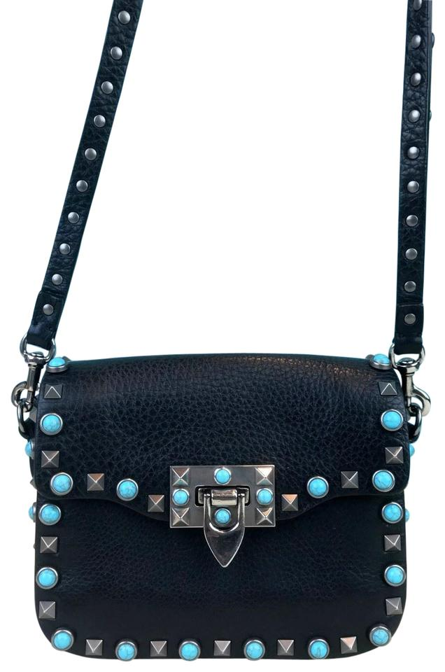 622a3f69d647 Valentino Turquoise Rockstud Flap Sale Black Leather Cross Body Bag ...
