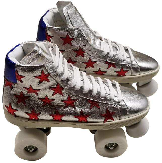 Item - Silver Red White Blue Leather California Court Classic Roller Skates Sneakers Size EU 38 (Approx. US 8) Regular (M, B)