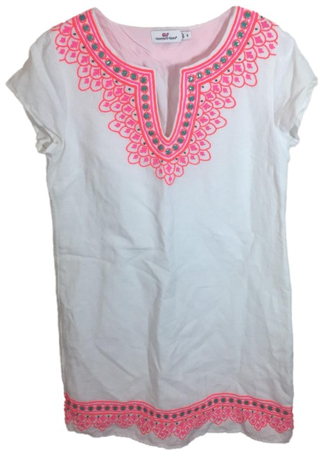 Item - White Embroidered Island Tunic Short Casual Dress Size 6 (S)