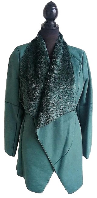 Item - Teal Of Faux Suede Waterfall Coat with Faux Fur Lining Jacket Size 10 (M)