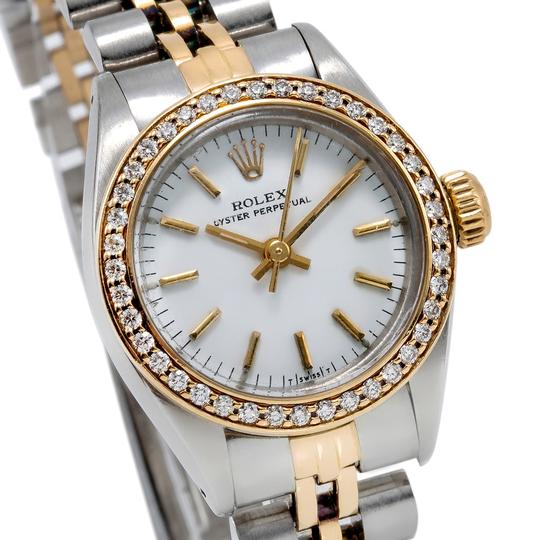 Rolex Rolex Oyster Perpetual 26mm White Dial W/ 0.80CT Diamond Bezel