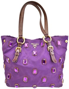 Prada Logo Vela Nylon Tote Amethyst Shoulder Bag