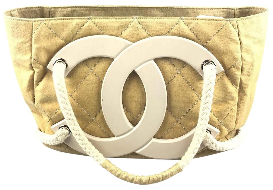 e1644a234bd4b5 Chanel Deauville Bag Limited Edition Cruise Beige Coated Canvas Tote ...