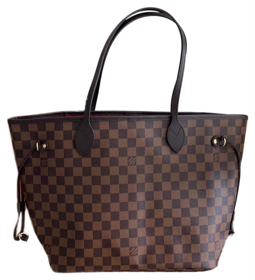 c875d115a4a0 Louis Vuitton Neverfull Mm Damier Ebene Red Leather Tote - Tradesy