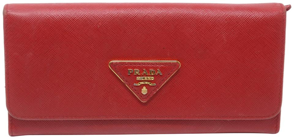 8250c7729065c5 Prada Red Saffiano Triangle Logo Leather Long Continental Wallet ...