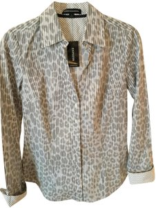 Express Button Down Shirt Work Shirt Top White and gray print