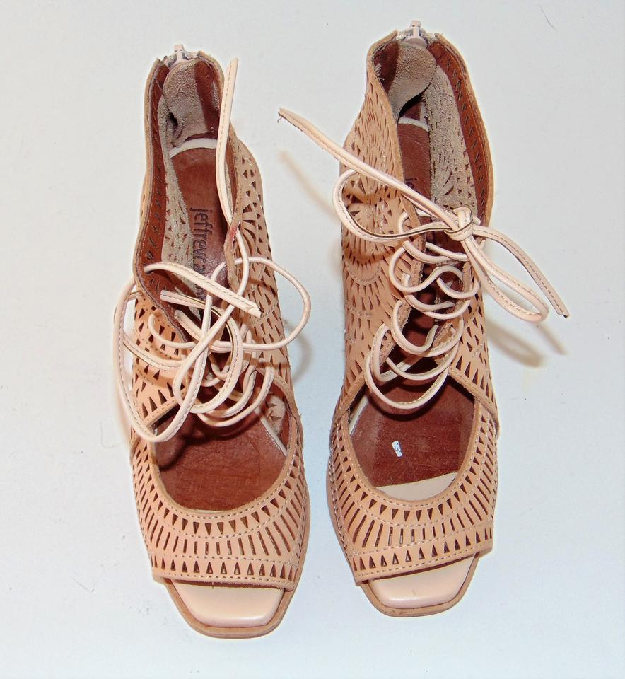 b25fb427258 Jeffrey Campbell Nude Tan Laser Cut Wedge Rayos Sandals Size US 5.5 ...