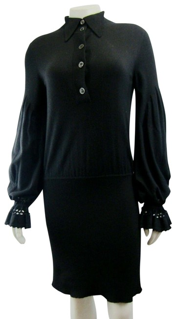 Preload https://img-static.tradesy.com/item/24903558/chanel-black-38-cashmere-knit-textured-ribbed-2007-keyhole-mid-length-cocktail-dress-size-6-s-0-1-650-650.jpg