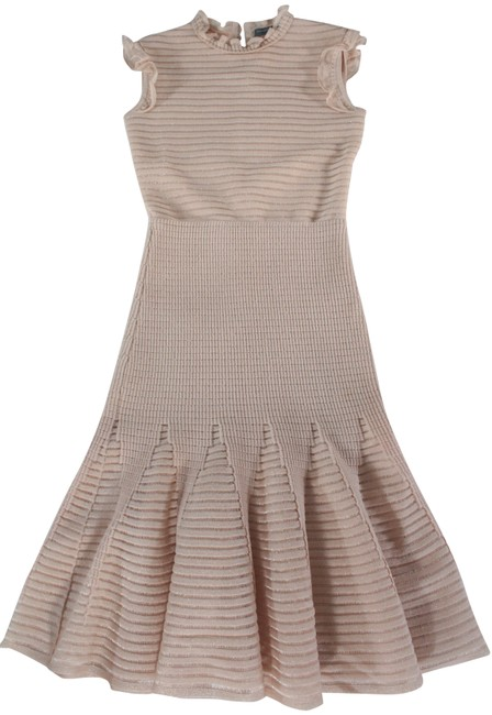 Item - Blush Pink / Nude Metallic Textured Knit Fit and Flare Mid-length Cocktail Dress Size 0 (XS)