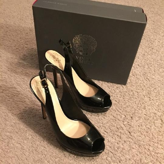 Vince Camuto Peep Toe Patent Leather Stiletto Heel Sandal Black Pumps