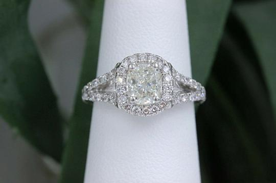 H Cushion Halo Diamond 1.55 Tcw 14k White Gold Engagement Ring