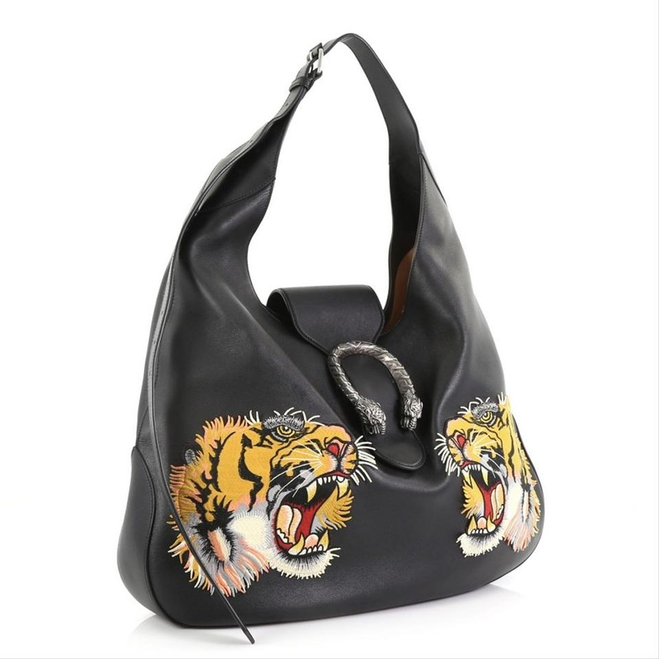 e376c694799 Gucci Dionysus Embroidered Large Black Leather Hobo Bag - Tradesy