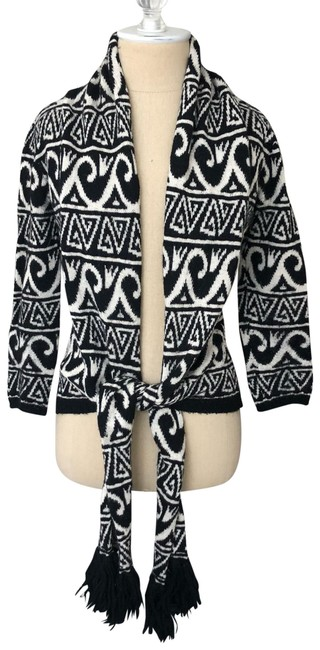 Preload https://img-static.tradesy.com/item/24903739/nicole-miller-collection-alpaca-tie-front-black-and-ivory-sweater-0-1-650-650.jpg
