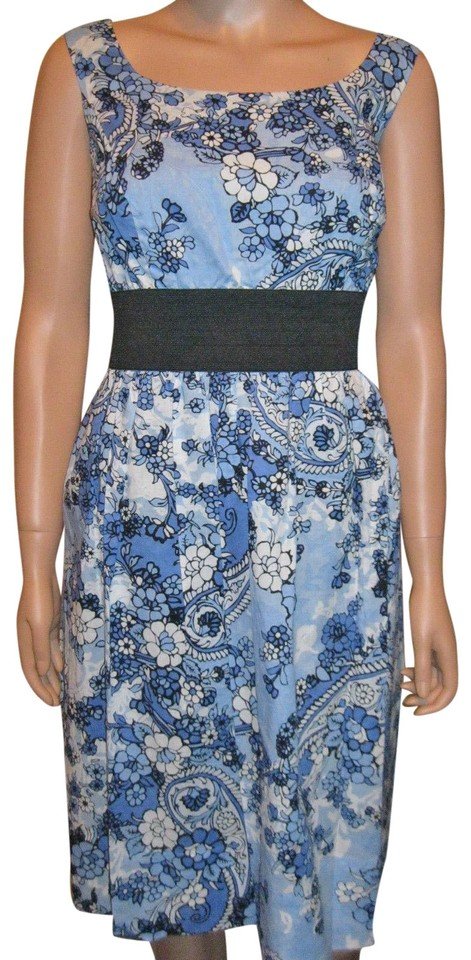 44d82e964a Signature by Robbie Bee Blue Cotton Fit and Flare Short Casual Dress ...