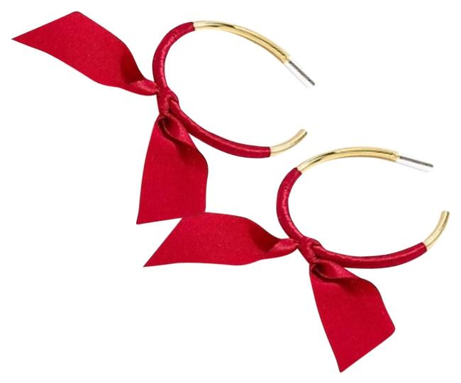 Item - Gold/Red Ribbon Wrapped Hoops Earrings