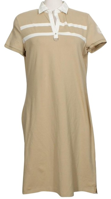 Item - Sand Striped Stretch Cotton Knit Crested Sporty Polo Short Casual Dress Size 10 (M)